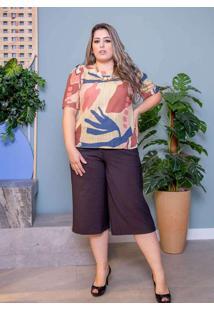 Blusa Estampada Almaria Plus Size Peri Amarelo