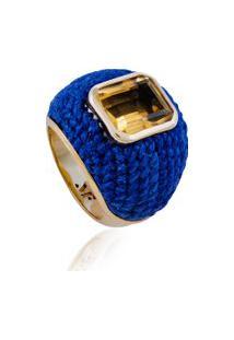 Anel Bombé Azul Com Citrino Em Prata - Ouro