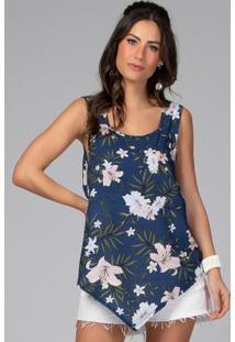 Blusa Floral Azul Com Barra Assimétrica