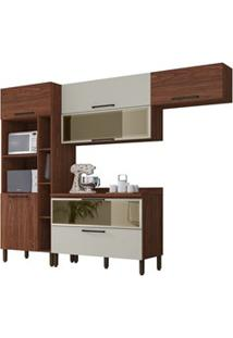 Cozinha Modulada Compacta 5 Peças Viv Concept C03 Nogueira/Off White -