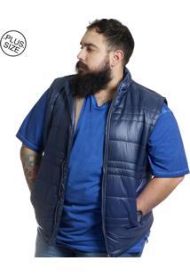 Colete Plus Size Nylon Bigshirts Azul /Marrom
