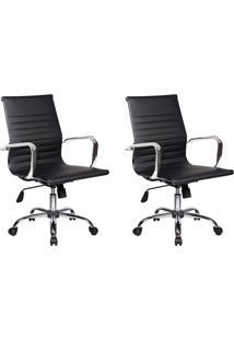 Conjunto Com 2 Cadeiras De Escritório Diretor Giratórias Eames Best Preto