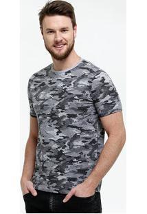 Camiseta Masculina Estampa Camuflada Manga Curta