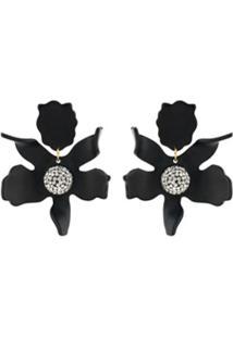 Lele Sadoughi Par De Brincos Com Aplicação Floral - Preto