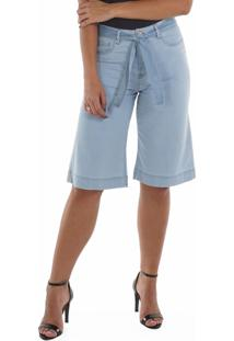 Bermuda Jeans Leve Com Faixa Jeans Azul Loony