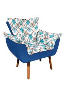 Poltrona Opala Composê Suede Azul Royal Com Estampado Traçado Azul D33 Pés Palito Castanho D'Rossi