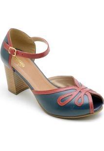 Sandália Retro Com Salto Sapatofran De Couro Confortável Feminino - Feminino-Azul
