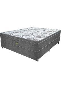 Cama Box Casal Springs Gray - Probel - Branco / Grafite / Prata