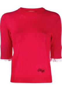 Philosophy Di Lorenzo Serafini Embroidered Logo 3/4 Sleeves Pullover - Vermelho