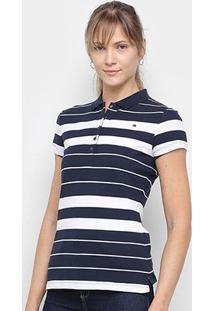 Camisa Polo Tommy Hilfiger Listrada Feminina - Feminino-Azul