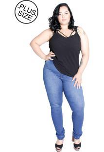 Calça De Jeans Com Lycra E Cós Alto Plus Size Da Panuse