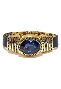 Pulseira Armazem Rr Bijoux Couro Cristal Oval Azul