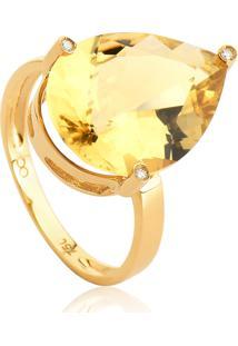 Anel De Ouro 18K Gota De Citrino Com Diamante