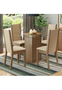 Conjunto Sala De Jantar Madesa Aline Mesa Tampo De Vidro Com 4 Cadeiras Marrom - Tricae