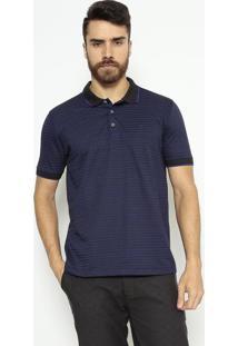 Polo Comfort Fit Listrado - Preta & Azulindividual