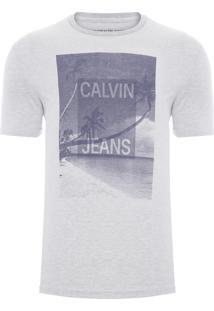 Camiseta Masculina Logo E Coqueiros - Cinza Mescla