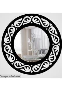 Espelho Círculo Com Recortes- Espelhado & Preto- Ø29Cia Laser