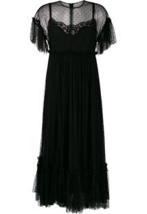 Dolce & Gabbana Vestido Evasê De Tule - Preto
