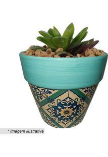 Cachepot Cone Portuguese Tile- Verde Turquesa & Cru-Urban