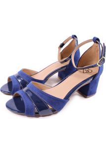 Sandália Feminy Casual Salto Grosso Azul Marinho - Kanui