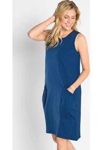 Vestido De Malha Azul