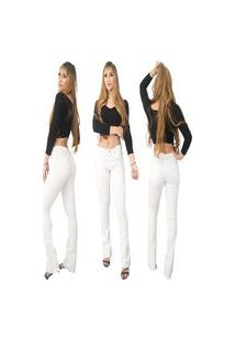 Calça Jeans Feminina Beloved Flare 1008 Branca