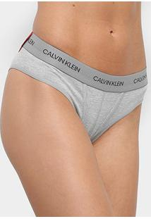 Calcinha Calvin Klein Tanga Statement Patch - Feminino-Mescla