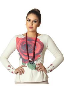 e422b24d4b ... Blusa Ficalinda Estampa Com Rosa Decote Canoa Evasê Feminina - Feminino -Vermelho
