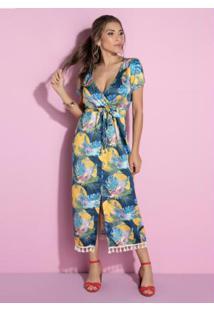 Vestido Tropical Com Fenda Frontal E Barbicachos