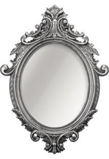 Espelho Oval Rococó Prata 40X54 Cm Mart