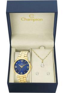Kit Relógio Champion Feminino Elegance - Cn26126K - Feminino-Dourado