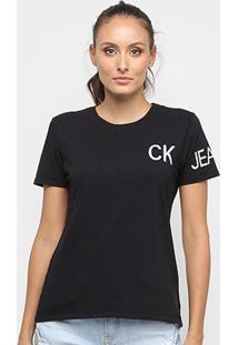 Camiseta Calvin Klein Ckj Feminina - Feminino-Preto