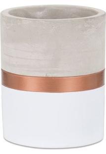 Vaso Com Listra- Branco & Rosê Gold- 13Xø10Cm- Mmart