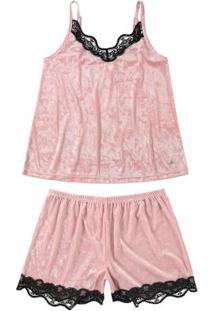 Pijama Rosa Claro Curto Em Veludo Molhado