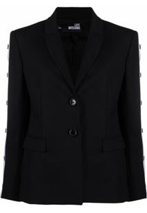 Love Moschino Contrast Trim Tailored Blazer - Preto
