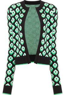 Diane Von Furstenberg Cardigã Com Estampa Geométrica - Verde