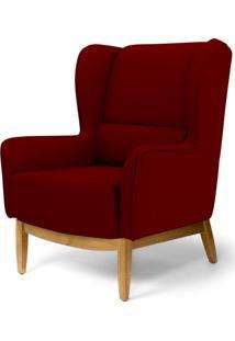 Poltrona Decorativa Para Sala De Estar Milena D02 Base De Madeira Veludo Marsala B-278 - Lyam Decor - Vermelho - Dafiti