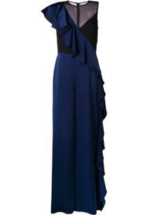 Diane Von Furstenberg Macacão Com Babados - Azul
