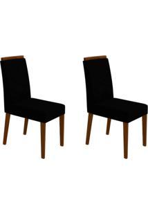 Conjunto Com 2 Cadeiras Caroline Castanho E Preto