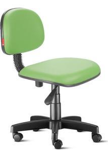 Cadeira Secretária Giratória Courvin Cromada Verde Claro