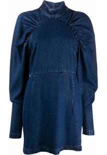 Rotate Vestido Jeans Com Franzido - Azul