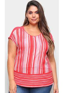 Blusa Habana Listrada Plus Size Feminina - Feminino-Laranja