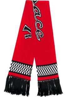Versace Cachecol Xadrez Com Logo Bordado - Vermelho