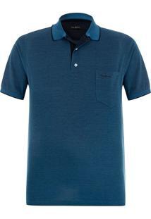 Polo Plus Size Fio Escócia Piquet Azul Órleans Com Bolso