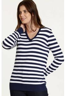 Suéter Feminino Listrado Decote V Marisa