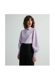 Camisa Manga Longa Bufante Em Tricoline   Cortelle   Roxo   M