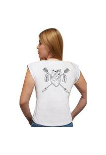 Camiseta Casual 100% Algodão Estampa Coração Avalon Cf01 Branca