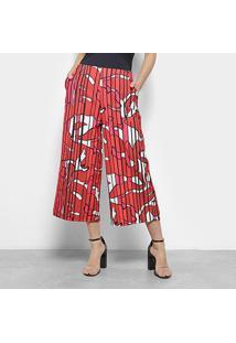 Calça Pantacourt Estampada Morena Rosa Feminina - Feminino-Vermelho