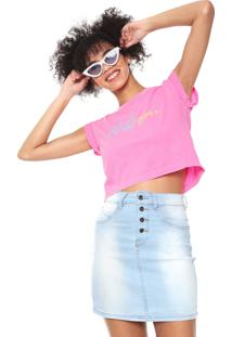 Camiseta Cropped Volcom And On Rosa - Rosa - Feminino - Dafiti
