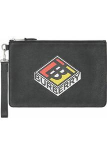 Burberry Clutch Com Detalhe De Logo - Preto